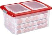 Sunware Nesta Kerst Opbergbox 51L - met deksel met vakverdeling - trays voor 92 kerstballen