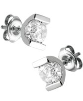 The Jewelry Collection Oorknoppen Zirkonia - Zilver Gerhodineerd