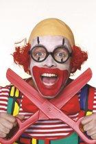 Clowns pruik kaal met rood haar