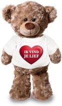 Knuffelbeer ik vind je lief met rood hartje 24 cm - Valentijn/ romantisch cadeau