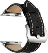 Bandje kalfsleer zwart geschikt voor Apple Watch 42mm en 44mm (alle generaties)