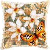 Voorbedrukt kruissteekkussen oranje vlinder als borduurpakket Vervaco pn-0148254