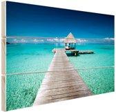 Frans-Polynesie aanlegsteiger Hout 60x40 cm - Foto print op Hout (Wanddecoratie) / Zee en Strand