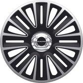AutoStyle 4-Delige Wieldoppenset Quadro Pro 15-inch zilver/zwart + chroom ring