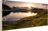 De Zwitserse Alpen bij zonsondergang Hout 80x60 cm - Foto print op Hout (Wanddecoratie)