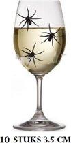 10 spinnen- Kunststof- Zwart- 3.5 cm