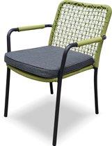New Rope armstoel grijs met groen inclusief zitkussen