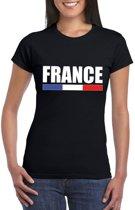 Zwart Frankrijk supporter t-shirt voor dames 2XL
