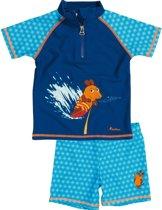 Playshoes UV zwemsetje Kinderen korte mouwen Blauwe Muis - Blauw - Maat 122/128