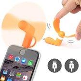 Kleine ventilator fan voor op mobiele telefoon Oranje / Lightning + Micro USB aansluiting / Geschikt voor iPhone Samsung HTC LG etc