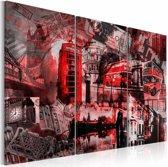 Schilderij - Londen in rood, 3luik, 2 maten