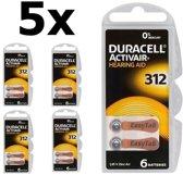 30 Stuks (5 Blister a 6st) Duracell ActivAir 312 MF (Hg 0%) Hearing Aid Gehoorapparaat batterijen
