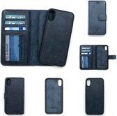 Dutchic  Lederen iPhone X / Xs Hoesje - Tweedelige ontwerp: Wallet case / Hardcase – Blauw
