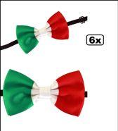 6x Strik satijn Italie - vlinder strik italiaans landen carnaval thema feest pizza festival eten