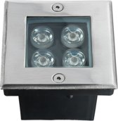 LED grondspot Cree - buitenverlichting / tuinverlichting / grondspots - 4W / staal / vierkant / 230V / IP67 / warmwit