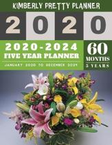2020-2024 Five Year Planner: five year planner 2020-2024 - 5 Year Planner for 60 Months with internet record page - Pretty Floral Design