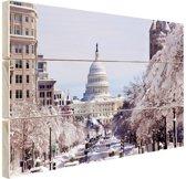 FotoCadeau.nl - Capitool bij sneeuwval Hout 120x80 cm - Foto print op Hout (Wanddecoratie)