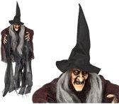 Horror heks feest hangdecoratie pop 50 cm - Halloween Heksen hangversiering pop 50 cm