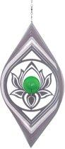 Windspinner RVS Lotus Flower met groene kogel