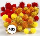 48x knutsel pompons 15-20 mm kleuren