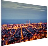 Barcelona skyline in de avond Aluminium 60x40 cm - Foto print op Aluminium (metaal wanddecoratie)