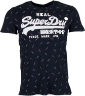 Superdry Shirt - Maat M  - Mannen - donkerblauw/wit