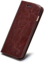 TomKas Lederen Wallet Hoesje iPhone XR - Donker Bruin - Musubo