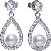 Diamonfire - Zilveren oorhangers Bridal - Zirkonia - Parel - Druppel