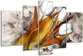 Glasschilderij Tulpen | Grijs, Wit, Bruin | 170x100cm 5Luik | Foto print op Glas |  F003256