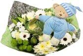 Geboorteboeket XL wit met blauwe bedtime Knuffel - it's a Boy!