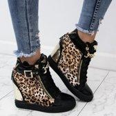Dames Sneakers - Sleehak - Panter - Wedge - Dames Schoenen - Maat 41