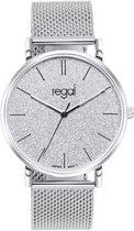 Regal - Regal mesh horloge glitter zilverkleurig