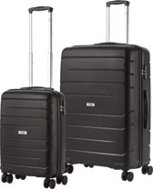 TravelZ Big Bars Kofferset - Trolleyset TSA 2-delig - Handbagage en groot - Zwart