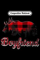 Composition Notebook: Boyfriend Reindeer Bear Plaid Pajama Matching Family Journal/Notebook Blank Lined Ruled 6x9 100 Pages