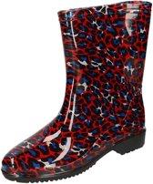 Half hoge dames regenlaarzen met  rood/blauwe panter print - Rubberen laarzen/regenlaarsjes dames 37