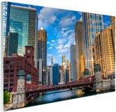 Chicago rivier Glas 30x20 cm - klein - Foto print op Glas (Plexiglas wanddecoratie)