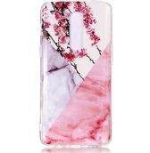 Mobigear Marmer Softcase Hoesje Design Roze / Wit OnePlus 6