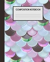 Composition Notebook: Mermaid Scales Wide Ruled Notebook Lined School Journal - 100 Pages - 7.5 x 9.25'' - Kids Children Girls Teens Women -