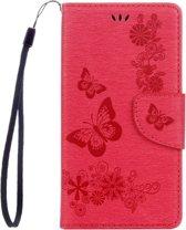 Voor Sony Xperia XZ Power Vlinders Embossing horizontaal Flip lederen hoesje met houder & opbergruimte voor pinpassen & portemonnee & Lanyard(rood)