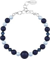 ARLIZI 1498 Parel Armband Swarovski Kristal - Dames - 925 Sterling Zilver - 18 cm - Blauw