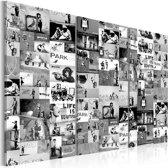 Schilderij - Collage Banksy Zwart-Wit , 3  luik , 2 maten