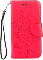 Voor ASUS Zenfone Go ZB500KL Pressed Bloemen patroon horizontaal Flip lederen hoesje met houder & opbergruimte voor pinpassen & portemonnee(rood)