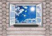 Fotobehang View Cottage Sky Clouds Sun Nature | XL - 208cm x 146cm | 130g/m2 Vlies