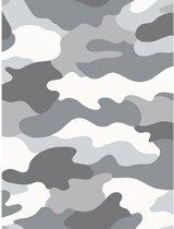 Camouflage Behang Grijs