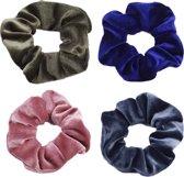 Scrunchie kraagjeskopen.nl - Velvet haarwokkel haarelastiek roze groen blauw grijsblauw - 4 stuks - scrunchies