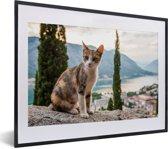 Foto in lijst - Kat op het muurtje met overzicht over de Baai van Kotor in Montenegro fotolijst zwart met witte passe-partout klein 40x30 cm - Poster in lijst (Wanddecoratie woonkamer / slaapkamer)
