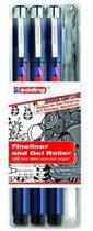 edding handletteringset - Fineliners 0.25, 0.5 en 0.7 mm + gelroller zilver - 4 stuks