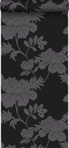 Origin behang bloemen zwart - 345927 - 53 x 1005 cm