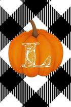 L: Cute Pumpkin Monogram Initial Letter L White Buffalo Plaid Check Personalized Gratitude Journal for Women and Girls