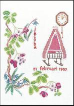 Thea Gouverneur Borduurpakket 862A Geboortetegel Februari - Aida stof 100% katoen